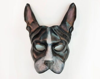 Entirely Handcrafted Boston Terrier Dog Leather Mask or French Bulldog Frenchie Display as Art or light & easy to wear costume Halloween