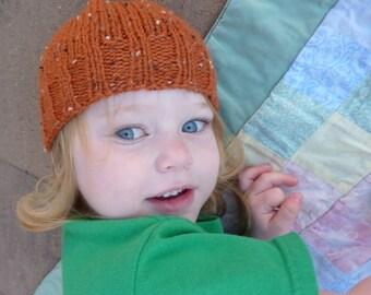 hand knit  toddler hat pumpkin tweed