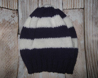 TEAM COLORS!!!  hand knit  hat  . . . One size fits many! . . .