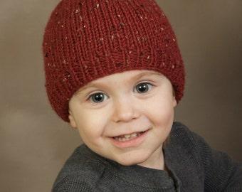 hand knit baby hat burgundy tweed  6 - 12 months