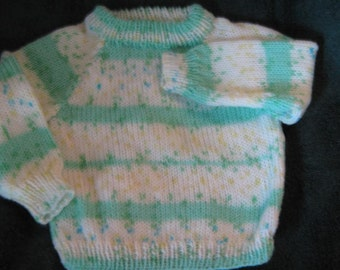 knit baby sweater fair isle and stripes, lightweight