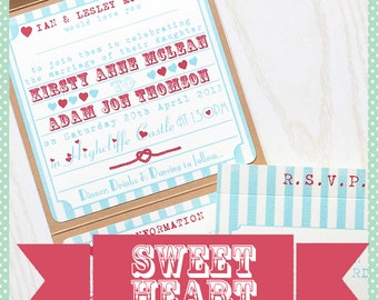Handmade Pocketfold Wedding Invitation Sweetheart Stripe Circus Heart Fairground Vintage Typography Inspired
