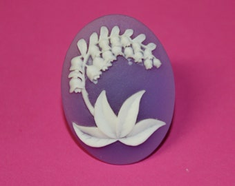 Large Lavender Lily of the Valley Cameo Ring