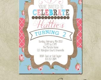 PRINTABLE- Shabby Chic/ Burlap Birthday Party Invite