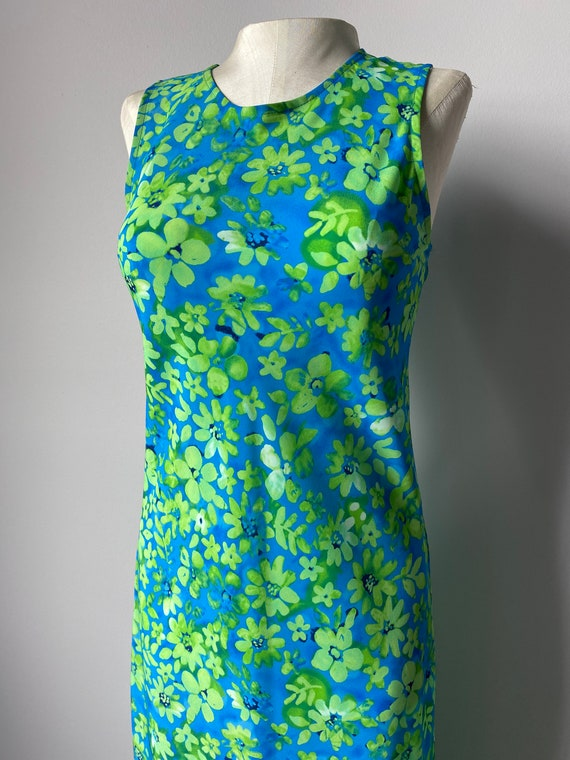 Neon Green Floral Maxi Dress - S - image 1