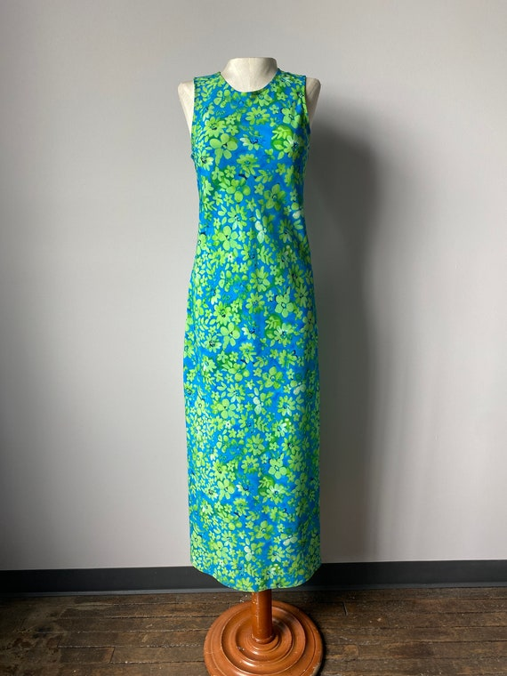 Neon Green Floral Maxi Dress - S - image 2
