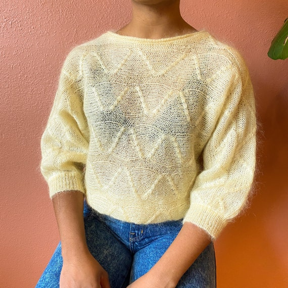 pale yellow mohair dolman sleeve sweater - m l