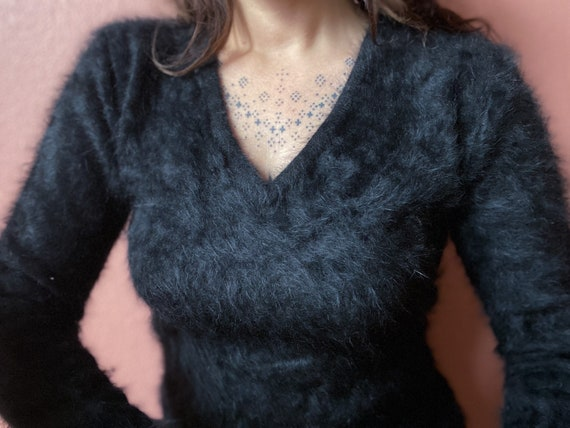 black angora v neck sweater | s m