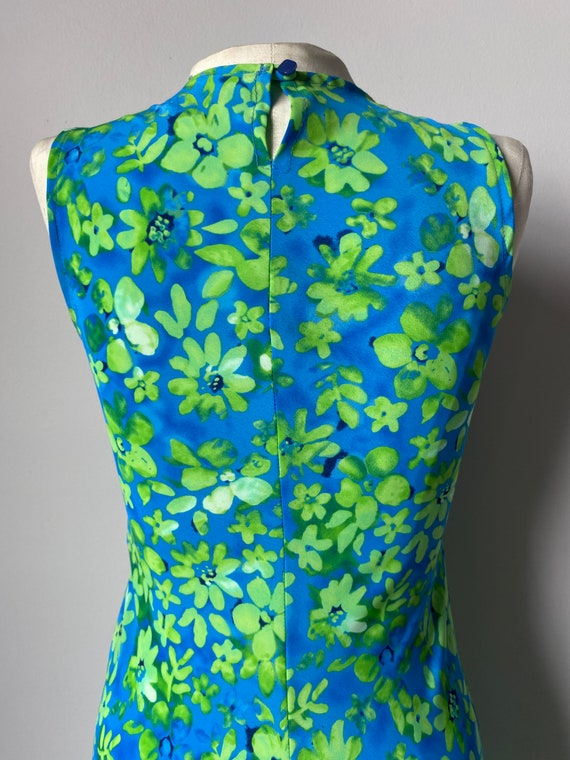 Neon Green Floral Maxi Dress - S - image 3