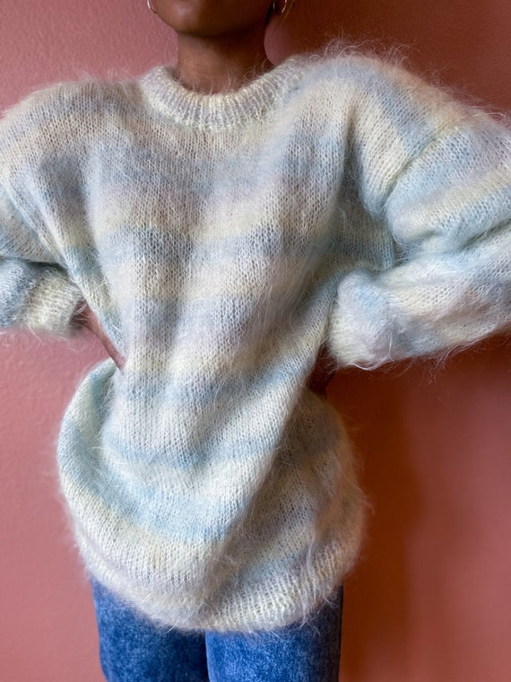 pastel mohair striped oversized sweater - l