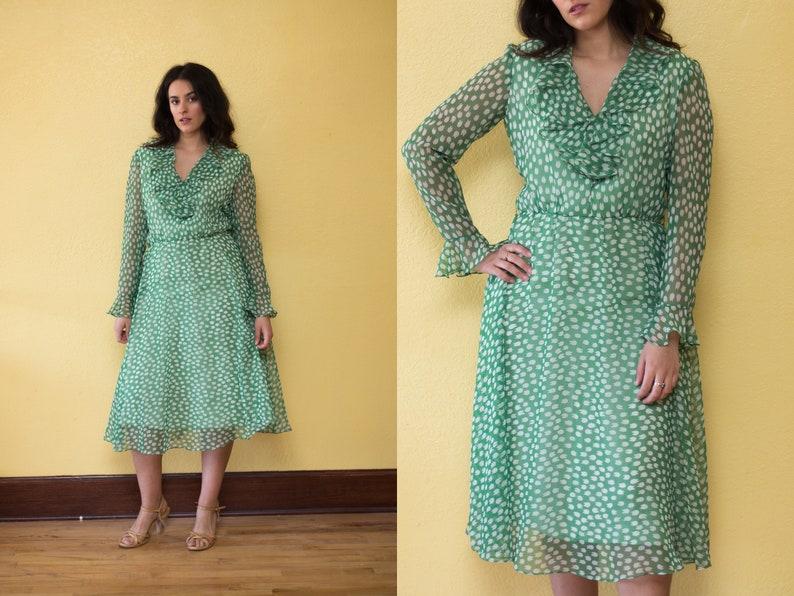 b49f041f20d Vintage 70s Green Chiffon Ruffle Dress    Polka Dot Tulip