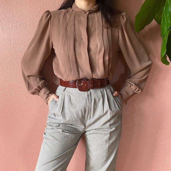 tan high neck gathered blouse | m