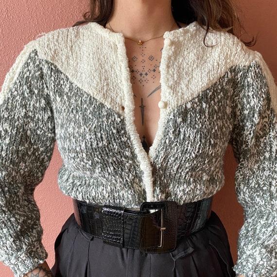 puff sleeve wool cardigan sweater | s m