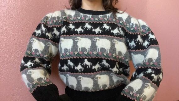 angora shetland wool sheep puff sleeve sweater | m