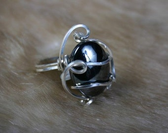 Hematite Wire Wrapped Ring Sterling Silver