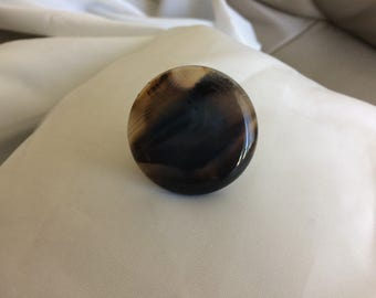 Ring Large Gemstone on Sterling Silver Adjustable Band