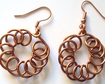Copper Coiled Dangles Earrings