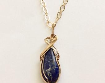 Wire Wrapped  Lapis Lazuli  Pendant Queen Hanifa