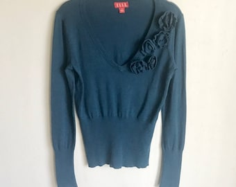 Elle Teal Sweater Rosette Knitted Accents Size S