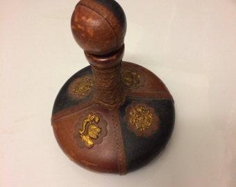 Italian leather wine bottle Vintage Brass Helmet And Fleur de Lis Crests