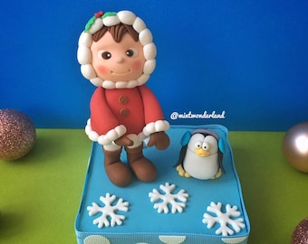 Snow Girl with Penguin Cake Topper