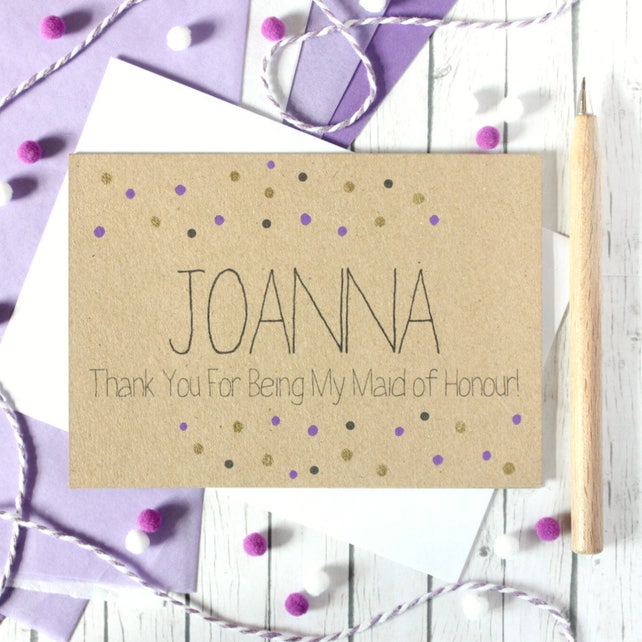 Personalised Maid Of Honour Card Maid Of Honor Thank You Card