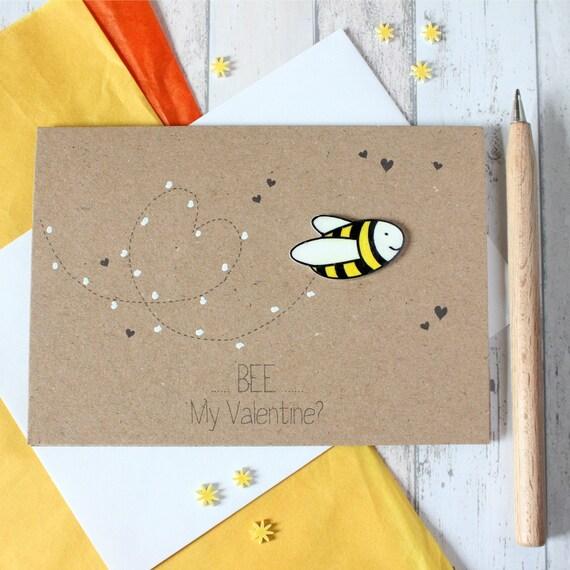Bee My Valentine Be My Valentine Valentines Day Card Etsy