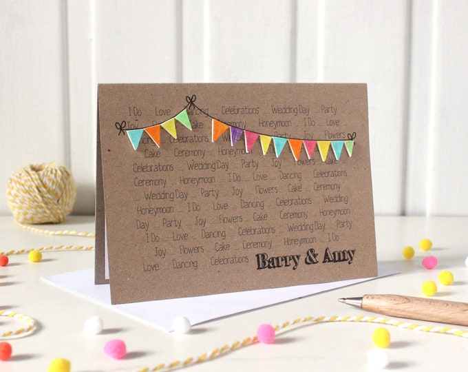 Personalised Wedding Day Congratulations Card, with Handmade Bright Bunting Embellishments