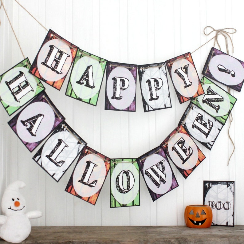 Halloween Party Decorations Handmade Happy Halloween Bunting image 0