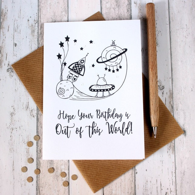 Happy Birthday Card Happy Birthday Cards Out of this World Alien Birthday Card Children's Birthday Card Outer Space Birthday Card Blast Off