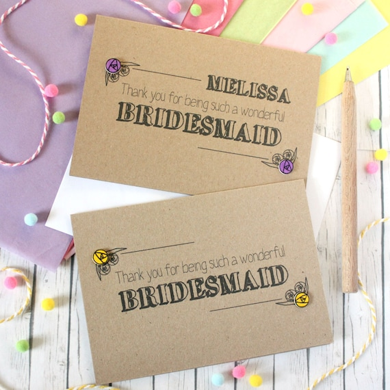Personalised Bridesmaid Thank You Card Bridesmaid Card Etsy