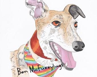 Greyhound Digital Dog Portrait, Custom dog drawing, Personalized Dog Art, Lab Dog Sketch, Crossbreed art