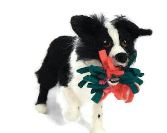 Custom Dog Sculpture, Handmade Border collie statue, dog figurine