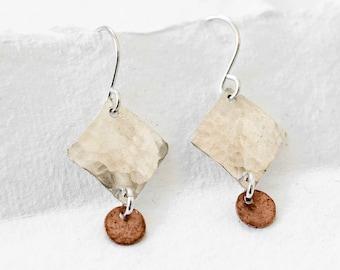 Two-tone wooden earrings Modern and elegant dinging earrings.