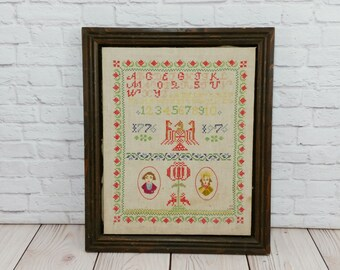 Vintage Rustic Sampler Numbers Alphabet Letters Embroidery Needlepoint Crewel Bicentennial