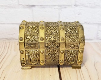 Vintage Gold Toned Treasure Chest Trinket Box