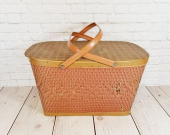 Vintage Wooden Woven Wicker Red-Man Picnic Basket
