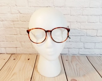 Vintage Brown Tortoise Shell Large Frames Cable Temples Retro Eyeglasses Eyewear