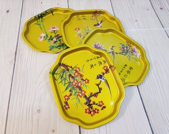 Made in Japan! Set of Four Pretty Wooden Vintage Tip Trays