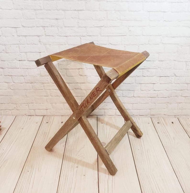 Brilliant Vintage Folding Wood Camp Stool Bralicious Painted Fabric Chair Ideas Braliciousco