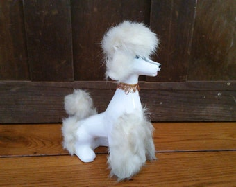 Vintage Ceramic Poodle with White Fur Japan