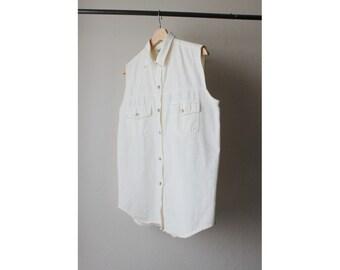 1990s White Denim Sleeveless Button Down Shirt