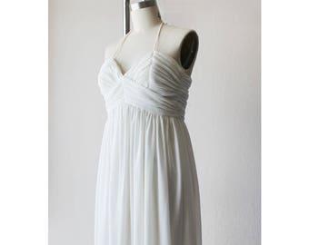 1970s Ivory Sheer Halter Maxi Dress