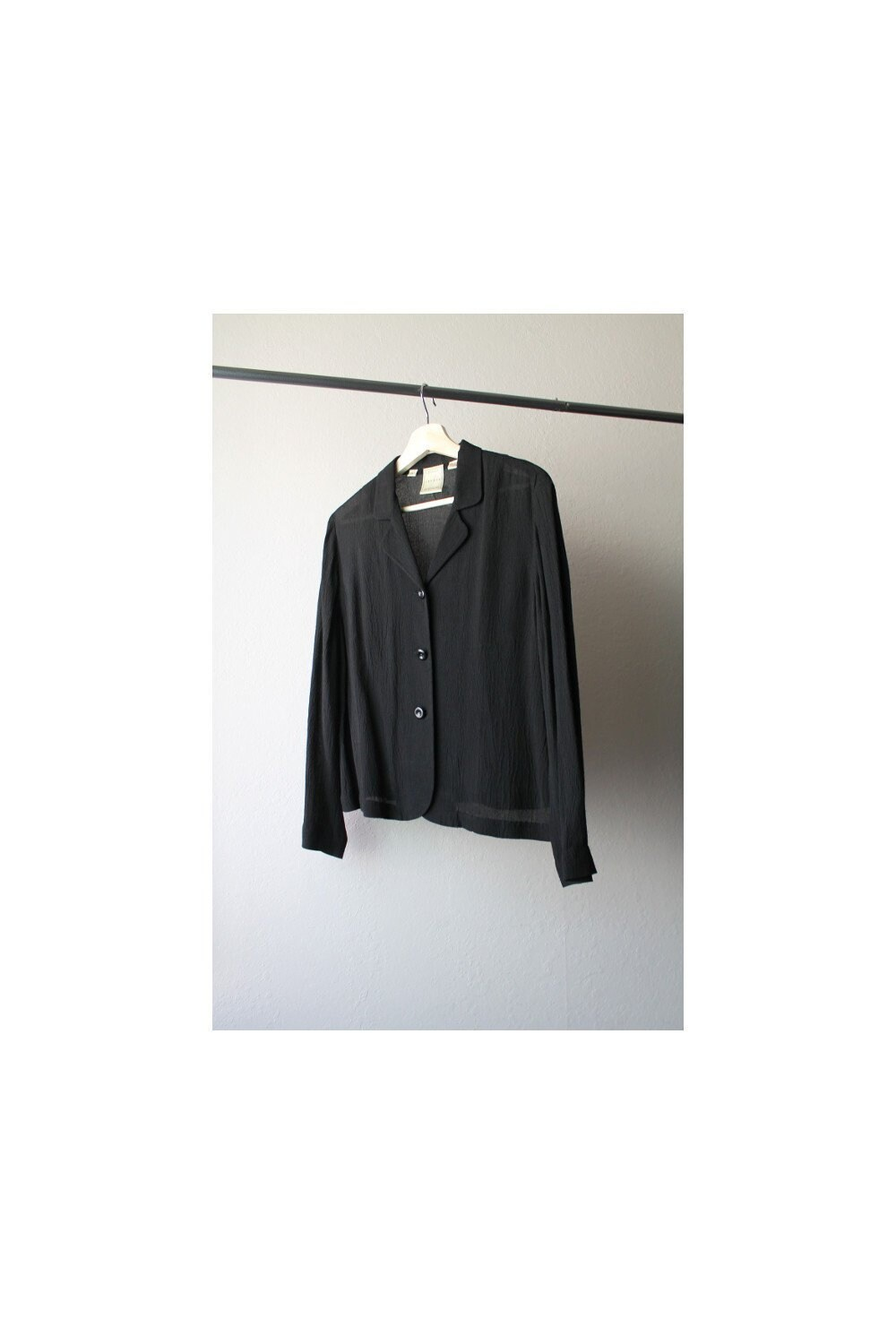 32151c1f 1990s Minimalist Sheer Black Button Down Blouse Size Small   Etsy