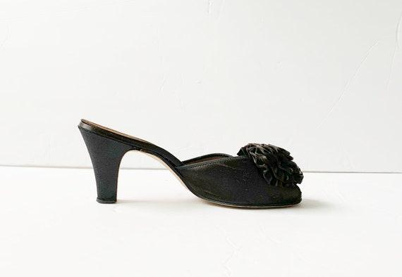 1940s Peep Toe Pom Pom Slippers Sandals Mules Pum… - image 5