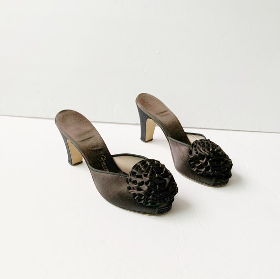 1940s Peep Toe Pom Pom Slippers Sandals Mules Pump