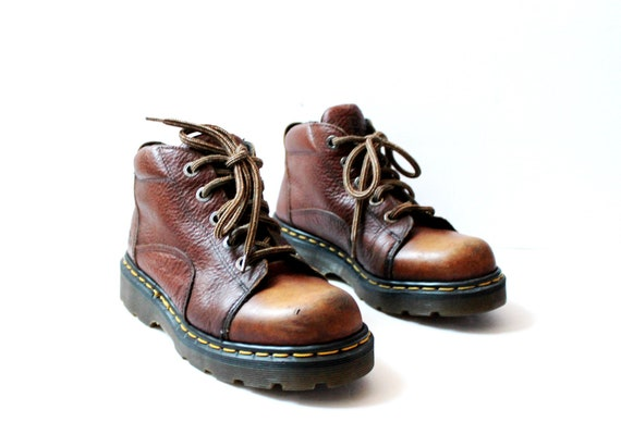 Vintage Dr. Martens Brown Leather Chunky Ankle Boo