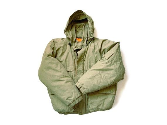 Vintage Army Green Hooded Parka Jacket