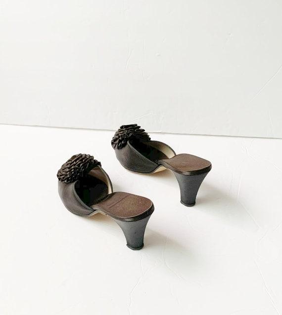 1940s Peep Toe Pom Pom Slippers Sandals Mules Pum… - image 7