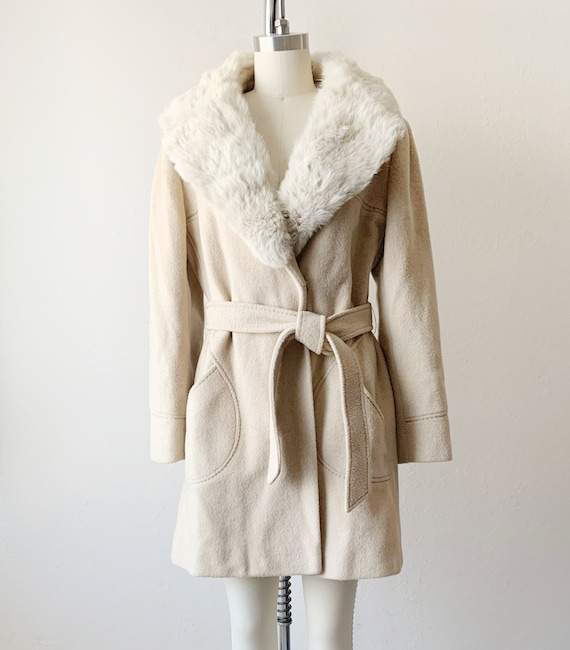 Vintage Country Pacer Fur Collar Wool Trench Coat